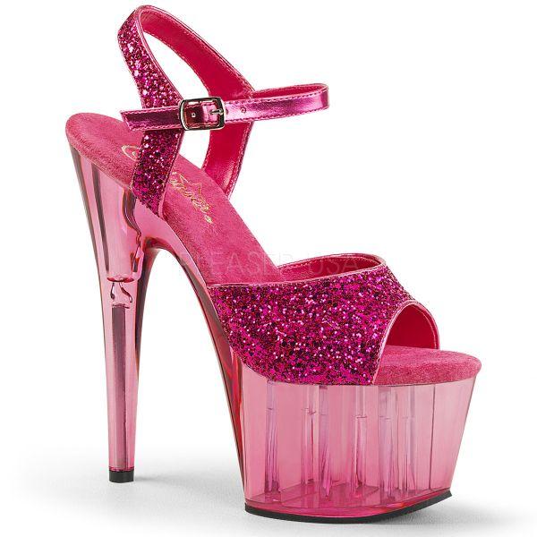 High Heel Glitter Sandalette hot pink mit passend getöntem Plateau ADORE-710GT